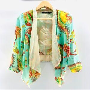 Ark & Co Hi Lo Open Waterfall Kimono Style Blazer